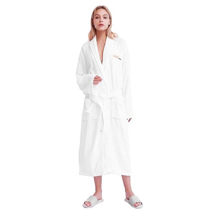 LIVINGbasics Unisex Bathrobe - 100% Terry Cotton Soft Plush Kimono Robe e9bd3815a