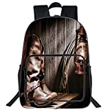 """19"""" Large Casual Backpack,Western Decor,Dallas Cowboys and Lantern on a Bench in Vintage Ranch Nostalgic Folkloric Print,Brown,for Boys Girls"""