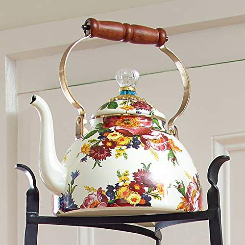 MacKenzie-Childs Tea Kettle, Steel Enamel - Flower Market - Multicolor - Printed Stovetop - 9'' Dia. base, 4.5'' Dia. lid, 13'' Tall, 3 Qt. Capacity by MacKenzie-Childs (Image #2)