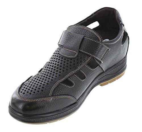 Calto J96702-3 Inches Taller - Hoogte Toenemende Liftschoenen - Zwarte Lederen Sandalen