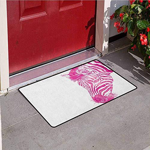 (GloriaJohnson Pink Zebra Welcome Door mat Head of Zebra Vibrant Portrait Watercolor Murky Aquarelle Watercolor Print Door mat is odorless and Durable W31.5 x L47.2 Inch Magenta White)