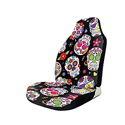 Tianheyue Sugar Skull and Flower Car Seat Cover Front Seats Full Set of 2 Vehicle Seat Protector Fit Cars, Sedan, Truck, SUV, Van: Automotive