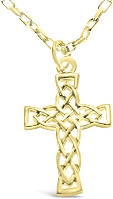 9ct Gold Celtic Cross Pendant Charm