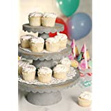 Galvanized Steel Industrial Cupcake / Food Serving Display Stand Scalloped 3 Tier Barn Country FInish - 2 Full Sets