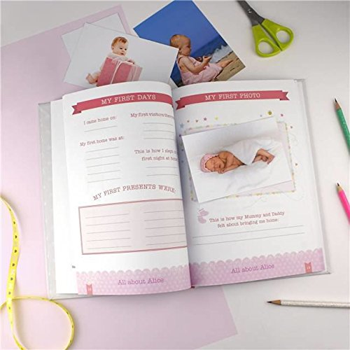 The Gift Experience Personalised Baby Record Book for a Girl