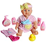 Bath Doll Toy with Shower Accessories Sets Kids Pretend Role Play Nurturing Doll for Children Baby Boys and Girls Over 3 Years Old