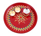 Itiha Indian Traditional hand painted steel decorative pooja thali beautiful festive ethnic/haldi kumkum holder/Diwali / indian handicraft/home / temple/office / wedding gift/bulk gift.