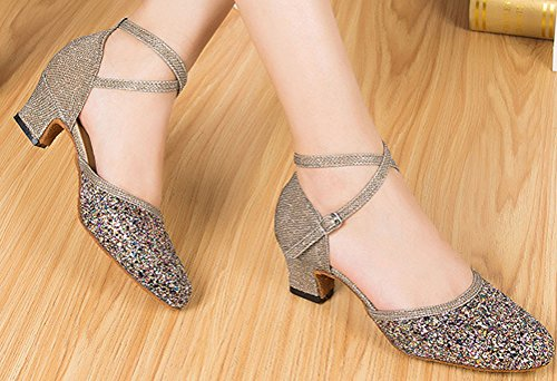 outdoor Ballroom Tango Practice Dance Vimedea Strap PU Shoes Low Party Indoor Professional Grey Ankle Pumps Wedding Cha Heel Swing Closed Latin Cha Outdoor for Dance LD071 Toe ZZqwCPF