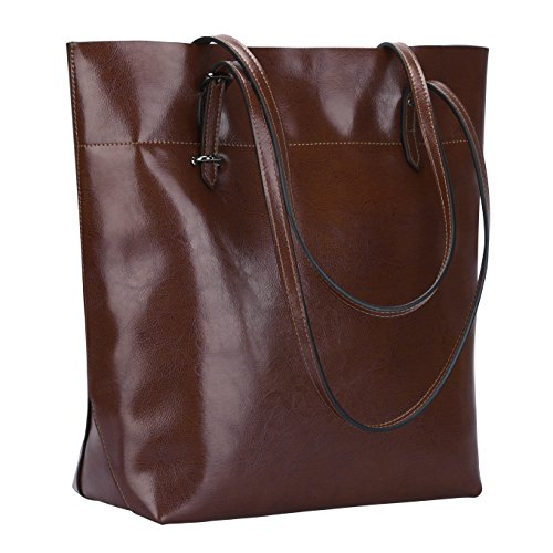 S-ZONE Vintage Genuine Leather Tote Shoulder Bag Handbag Big Large Capacity Upgraded 2.0 Coffee