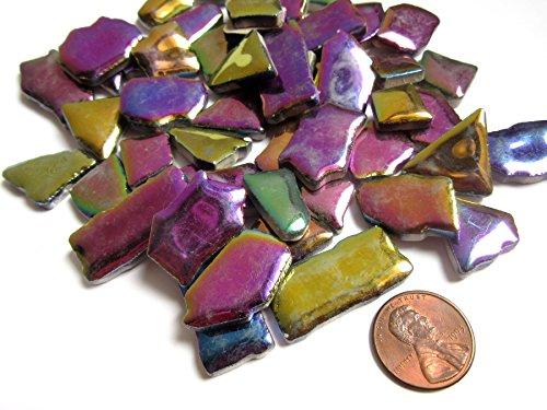 50 Colorful Iridescent Mosaic Tiles, Shiny Metallic Mosaic Pieces, Jigsaw Ceramic Mosaic Tiles, Mosaic Art Supplies, Tile Mosaic Supply, Mosaic Craft ()