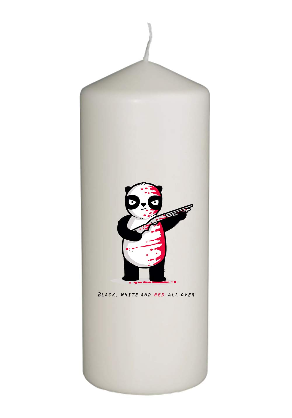 Hat Shark Randy Otter Black, White, and Red All Over Panda with Shotgun Thick White in Full Color Unity Candle - Wedding, Baptism, Funeral, Special Event Decoration (6 inches Tall)