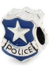 "Pro Jewelry ""Blue Police Badge"" Charm Bead for Snake Chain Charm Bracelet"