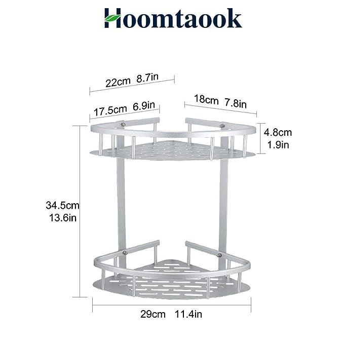 Hoomtaook cajita de repisas para ducha, organizador ducha, sin clavos. Autoadhesivo, aluminio espacio, para baños de cocina