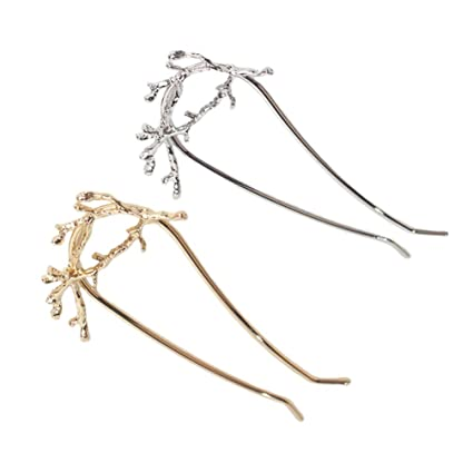 Frcolor Accesorios del pelo de los clips de pelo de la horquilla de la horquilla 2pcs para las muchachas de las mujeres oro