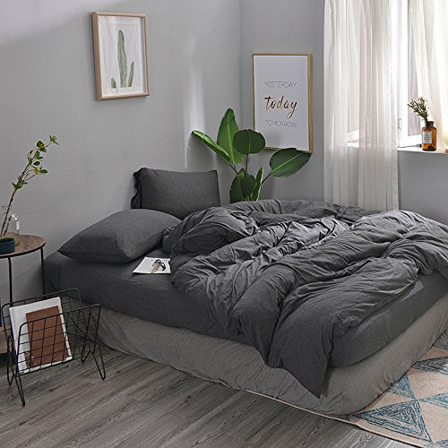 Bedding 3 Piece Duvet Cover Set (1 Duvet Cover + 2 Pillow Shams)Solid Pattern Jersey Cotton Duvet Cover Queen Set Ultra Soft&Breathable Hypoallergenic(Full/Queen,Black) (Jersey Ultra Game)