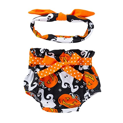 Toddler Baby Girls Boys 2Pcs Clothes Sets for 0-18 Months,Lovely Comfortable Little Pumpkin Bow Shorts and Headband Outfits (3-6Months, Black) ()