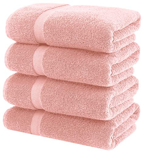 White Classic Luxury Bath Towels Large - Circlet Egyptian Cotton | Highly Absorbent Hotel spa Collection Bathroom Towel | 27x54 Inch | Set of 4 | Pink (Bath Towels Pink)