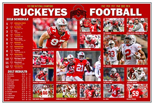 PosterWarehouse2017 Ohio State Buckeyes 2018 PICTORIAL Football Schedule Poster