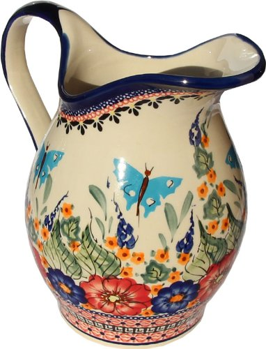 Polish Pottery Pitcher 1.8 Qt. From Zaklady Ceramiczne Boleslawiec #1160-149 Art Unikat Signature Pattern, Height: 7.9