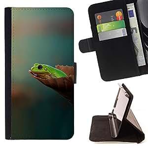 BullDog Case - FOR/Samsung Galaxy S4 Mini i9190 / - / lyagushka list fon /- Monedero de cuero de la PU Llevar cubierta de la caja con el ID Credit Card Slots Flip funda de cuer