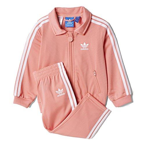 adidas Originals Girls' Tracksuit, Peach Pink/White, 4T (Adidas Originals Tracksuit Women)