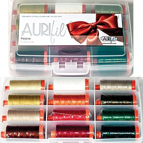 Aurifil Thread Set Festive Collection 50wt Cotton 12 Large (1422 yard) Spools by Aurifil