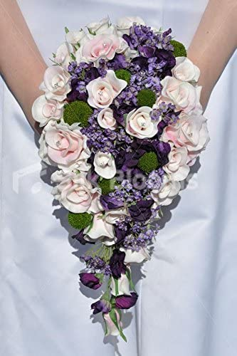 Amazon Com Rustic Pink Roses Purple Wildflowers Cascade Bridal