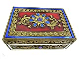 Blue Orchid Hinged Jeweled Trinket Wooden Keepsake Velvet Lined Thai Jewelry Box 8'' (Sapphire)