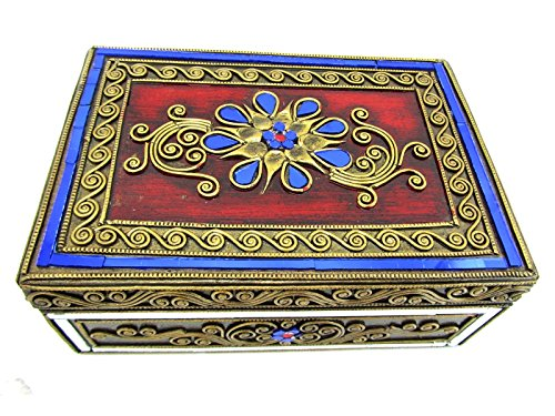 Blue Orchid Hinged Jeweled Trinket Wooden Keepsake Velvet Lined Thai Jewelry Box 8'' (Sapphire) by Blue Orchid
