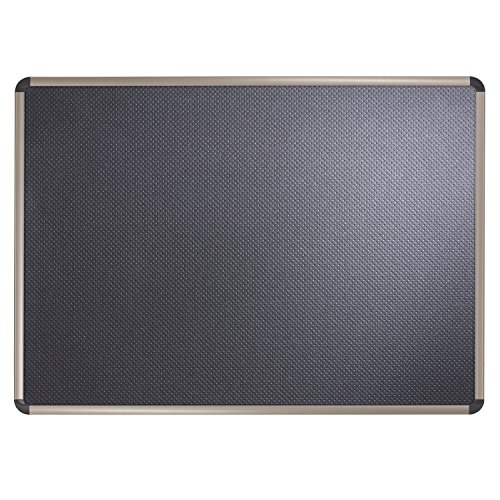 Quartet Bulletin Board, Prestige Black Embossed Foam, 4' x 3', Euro Aluminum/Titanium Finish Frame (B364T)