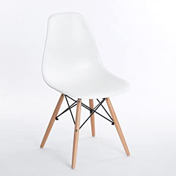 Vitra Eames Chair DSW Chair Cream Polypropylene Maple Frame With Felt Glides