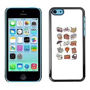 Patrón Hot Dog Peach color Viajes Arte- Metal de aluminio y de plástico duro Caja del teléfono - Negro - iPhone 5C
