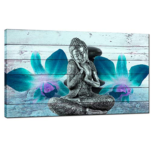 (sechars - Zen Canvas Wall Art Relaxing Buddha and Teal Orchid Picture Canvas Prints Modern Wood Background Art Giclee Print for Home Office Spa Room Wall Decoration Stretched Ready to Hang)