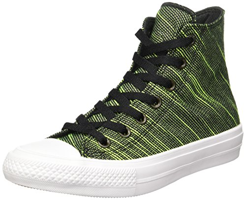 Converse Unisex Chuck Taylor All Star II Hi Top Sneaker (7.5 Men/Women 9.5, Black/Volt)]()