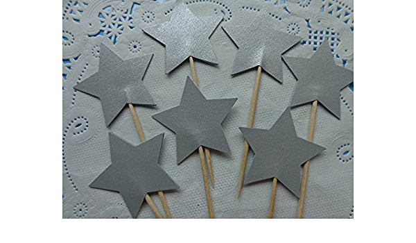 4 Set Silver Star Party Food Picks