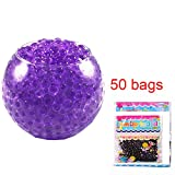 jelly beads vase - 50 Bags Magic Water Gel Crystal Soil Beads Growing Jelly Ball Decoration Vase Filler - Transparent Reuseable Water Beads Gel (Purple)