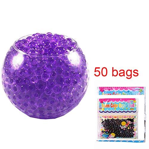 - 50 Bags Magic Water Gel Crystal Soil Beads Growing Jelly Ball Decoration Vase Filler - Transparent Reuseable Water Beads Gel (Purple)