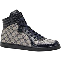 b41f4dac1e28 Gucci Men s Blue Crocodile Leather GG Guccissima High Top Sneakers Shoes
