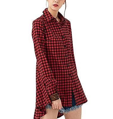 Generic Women Long Sleeve V-Neck Plaid Casual Shirt Dress Tunic
