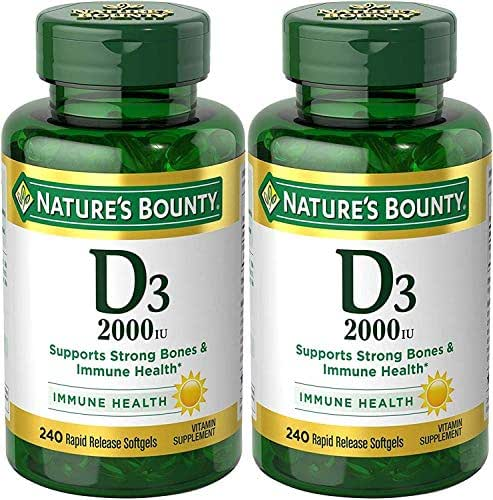 Nature's Bounty Vitamin D-3, 2000 Iu, 480 Softgels (2 X 240 Count Bottles)
