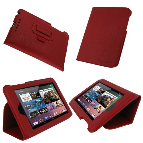 rooCASE Ultra-Slim (Red) Vegan Leather Folio Case for Google Nexus 7 Tablet (Built-in sleep / wake feature)