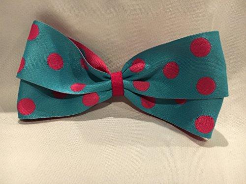 (Polka Dot Hair Bow, Turquoise and Pink Hair Accessories, Polka Dot Hair Clip)
