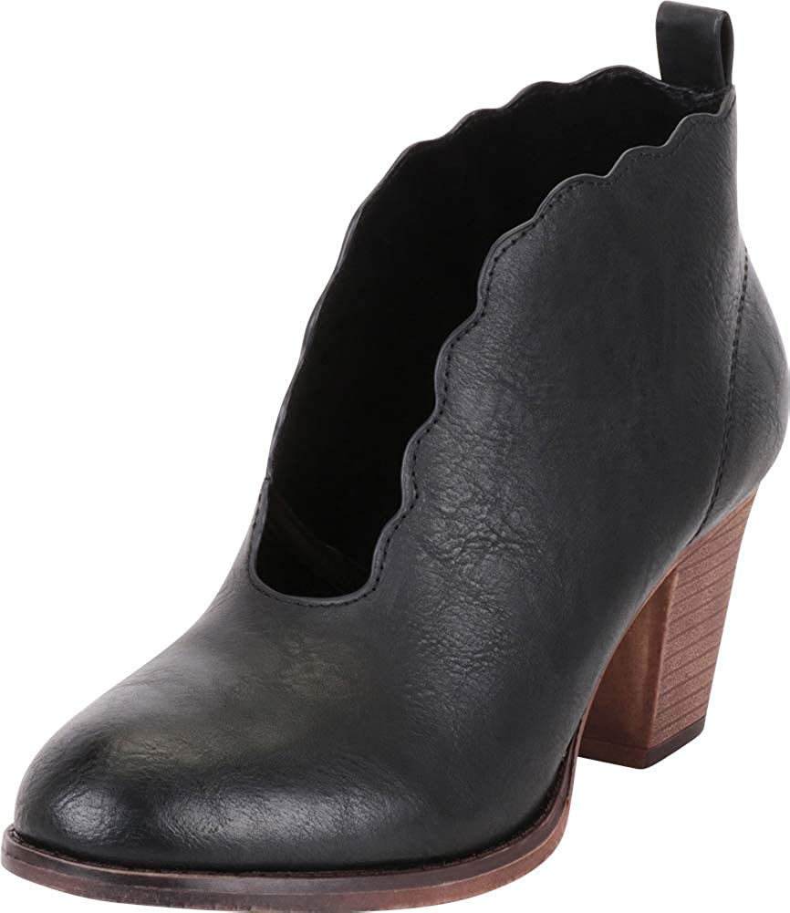 Black Pu Cambridge Select Women's Distressed Scalloped Front Cutout Stacked High Heel Ankle Bootie