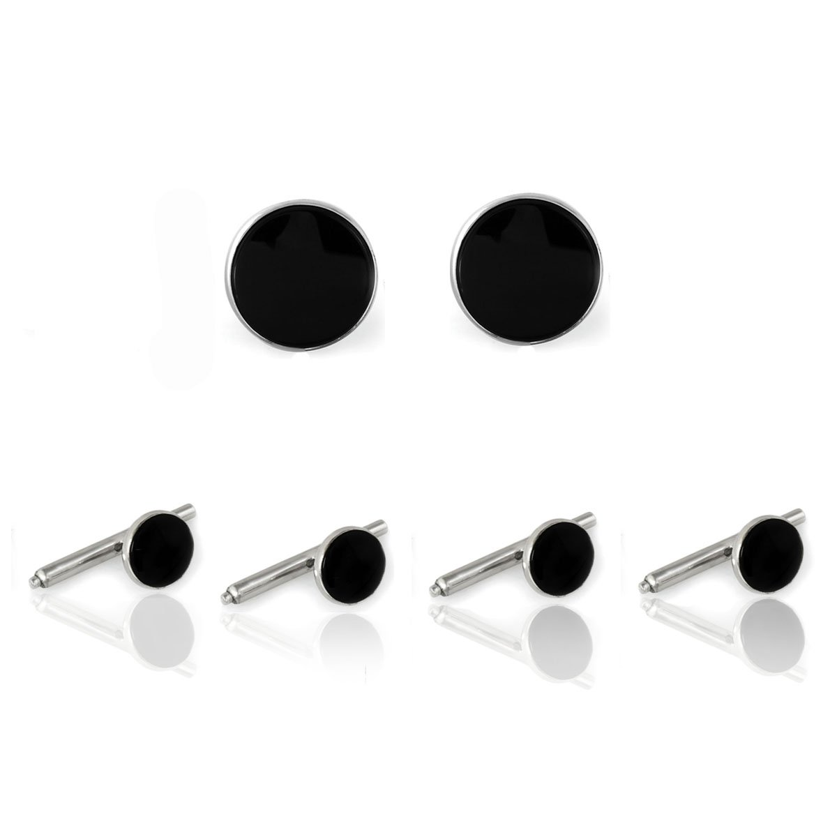 Sterling Silver & Onyx Shirt Stud Tuxedo Cufflinks Set