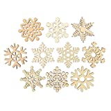 Tinksky 10pcs Assorted Wooden Snowflake Shapes Cutouts Craft Embellishment Gift Tag Wood Ornament for Weding Christmas Home DIY