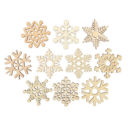 (Tinksky Christmas DIY Assorted Wooden Snowflake Cutouts Craft Embellishment Gift Tag Wood Ornament for Weding,Pack of 10)