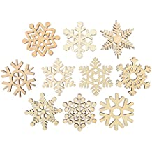 Tinksky 10pcs Assorted Wooden Snowflake Cutouts Craft Embellishment Gift Tag Wood Ornament for Weding Christmas DIY