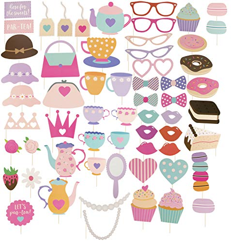 Tea Party Photo Booth Props - 60-Pack Birthday Party Supplies, Selfie Props, Party Favors for Kids Parties ()