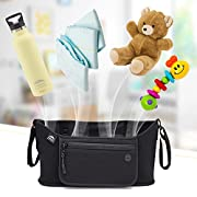 Nordic By Nature Detachable Stroller Organizer With Insulated Cup Holders | Universal Fit With Adjustable Holders | Doubles As Backseat Organizer | The Stroller Caddy Bag Every Mom Needs | Black Cotto