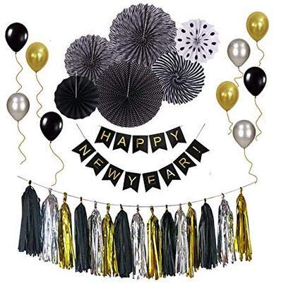 LUCKKYY 2019 Year Pary Decoration Set,Black and Gold Party Decorations Kit NewYear Party Supplies for Wedding,Anniversary,Engagement,Baby Shower ()